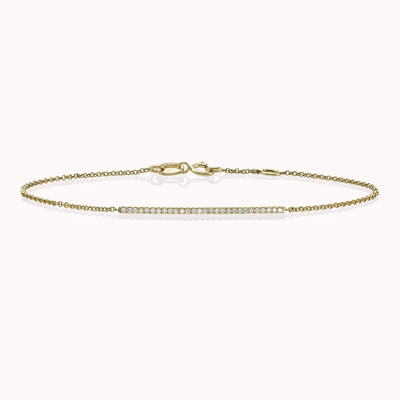 Diamond Bar Bracelet Bracelets 14K Solid Gold 14k Yellow Gold Adjustable 6-7″ (15cm-18cm)