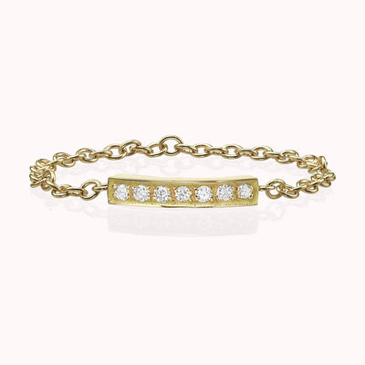 Diamond Bar Chain Ring Ring 14K Solid Gold 4 14k Yellow Gold