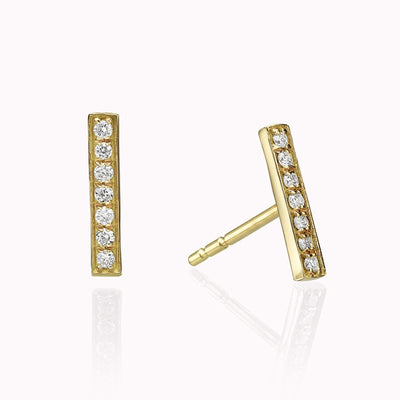 Diamond Bar Earrings Earrings 14K Solid Gold 14k Yellow Gold