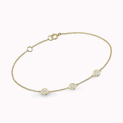 Diamond Bezel Bracelet Bracelets 14K Solid Gold 14k Yellow Gold Adjustable 6-7″ (15cm-18cm)