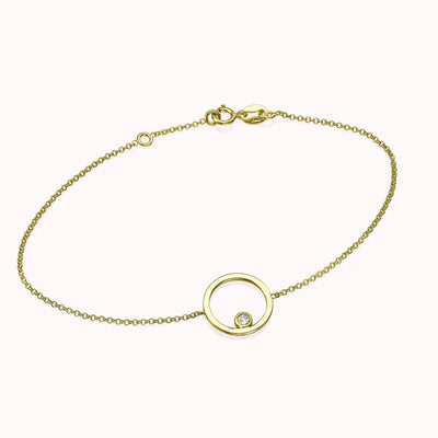 Diamond Bezel Circle Bracelet Bracelets 14K Solid Gold 14k Yellow Gold Adjustable 6-7″ (15cm-18cm)