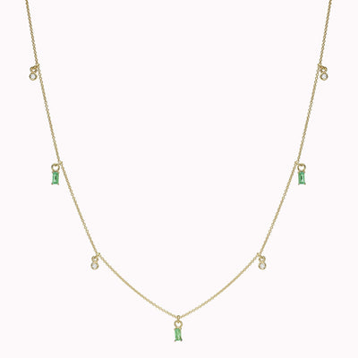 "Diamond Bezel & Emerald Baguette Necklace Necklace 14K Solid Gold 14k Yellow Gold Adjustable 16-17"" (40cm-43cm)"