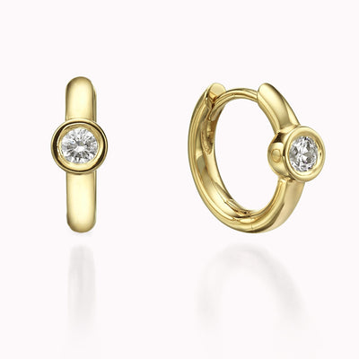 Diamond Bezel Hoops Earrings 14K Solid Gold 14k Yellow Gold