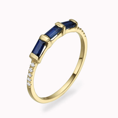 Diamond & Blue Sapphire Baguette Ring Ring 14K Solid Gold 4 14k Yellow Gold