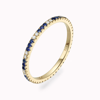 Diamond & Blue Sapphire Eternity Ring Ring 14K Solid Gold 4 14k Yellow Gold