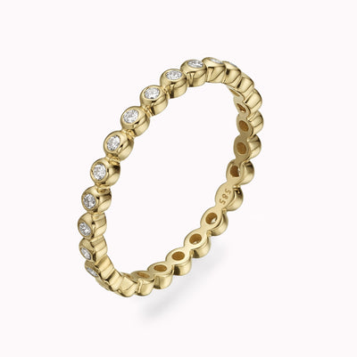 Diamond Bubble Eternity Ring Ring 14K Solid Gold 4 14k Yellow Gold