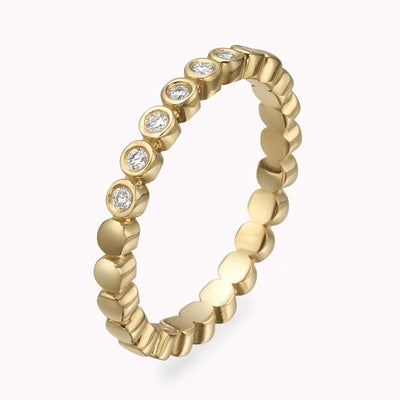 Diamond Bubble Half Eternity Ring Ring 14K Solid Gold 4 14k Yellow Gold