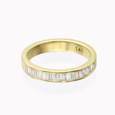 Diamond Chanel Eternity Band Ring 14K Solid Gold 4 14k Yellow Gold