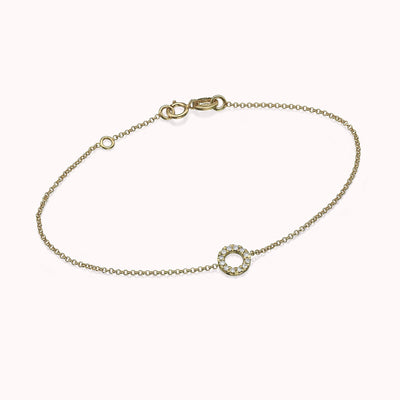 Diamond Circle Bracelet Bracelets 14K Solid Gold 14k Yellow Gold Adjustable 6-7″ (15cm-18cm)