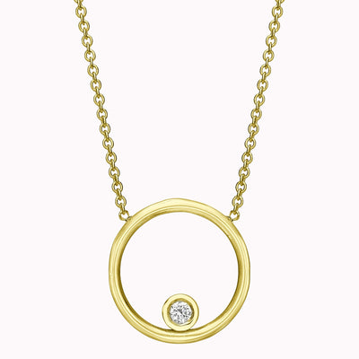"Diamond Circle Dot Necklace Necklace 14K Solid Gold 14k Yellow Gold Adjustable 16-17"" (40cm-43cm)"