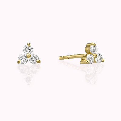 Diamond Cluster Earrings Earrings 14K Solid Gold 14k Yellow Gold