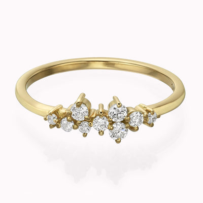 Diamond Cluster Ring Ring 14K Solid Gold 4 14k Yellow Gold
