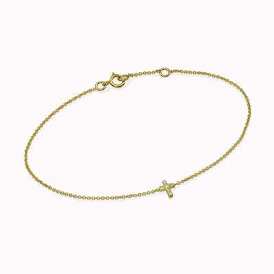 Diamond Cross Bracelet Bracelets 14K Solid Gold 14k Yellow Gold Adjustable 6-7″ (15cm-18cm)