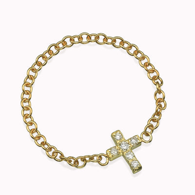Diamond Cross Chain Ring Ring 14K Solid Gold 4 14k Yellow Gold