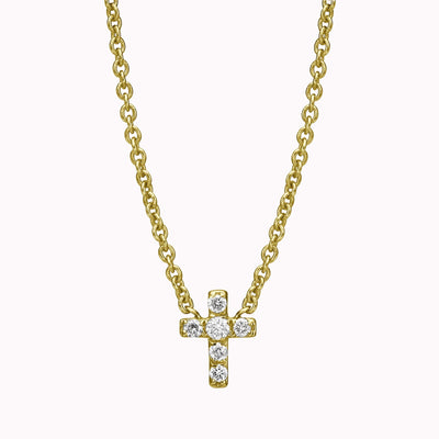 "Diamond Cross Necklace Necklace 14K Solid Gold 14k Yellow Gold Adjustable 16-17"" (40cm-43cm)"