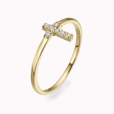 Diamond Cross Ring Ring 14K Solid Gold 4 14k Yellow Gold