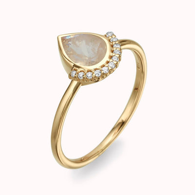 Diamond Crown & Pear Moonstone Ring Ring 14K Solid Gold 4 14k Yellow Gold