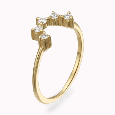 Diamond Crown Ring Ring 14K Solid Gold 4 14k Yellow Gold