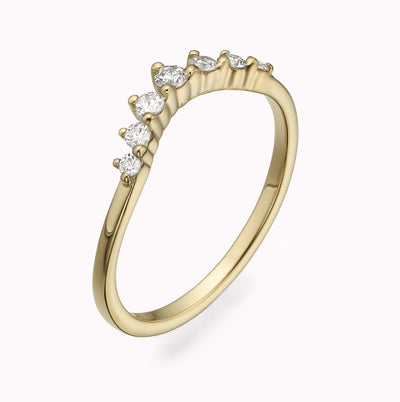 Diamond Crown Stackable Ring Ring 14K Solid Gold 4 14k Yellow Gold