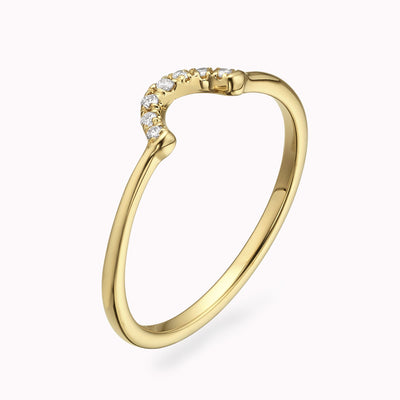 Diamond Curved Stackable Ring Ring 14K Solid Gold 4 14k Yellow Gold