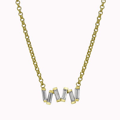 "Diamond Dancing Baguette Necklace Necklace 14K Solid Gold 14k Yellow Gold Adjustable 16-17"" (40cm-43cm)"