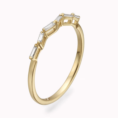 Diamond Dancing Baguette Ring Ring 14K Solid Gold 4 14k Yellow Gold