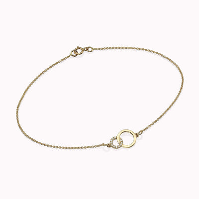Diamond Double Circle Bracelet Bracelets 14K Solid Gold 14k Yellow Gold Adjustable 6-7″ (15cm-18cm)