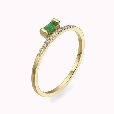 Diamond & Elevated Emerald Baguette Ring 14K Solid Gold 4 14k Yellow Gold