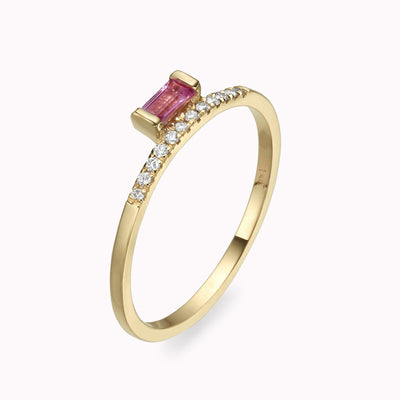 Diamond & Elevated Pink Sapphire Baguette Ring 14K Solid Gold 4 14k Yellow Gold