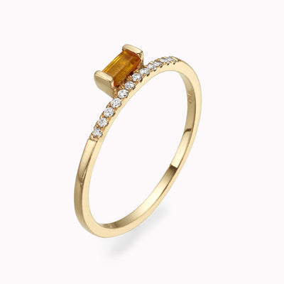 Diamond & Elevated Yellow Citrine Baguette Ring 14K Solid Gold 4 14k Yellow Gold