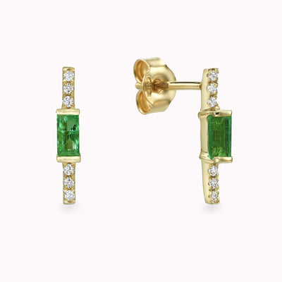 Diamond & Emerald Baguette Earrings Earrings 14K Solid Gold 14k Yellow Gold