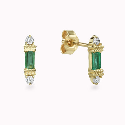 Diamond & Emerald Cluster Baguette Studs Earrings 14K Solid Gold 14k Yellow Gold