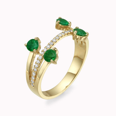 Diamond & Emerald Dots Ring Ring 14K Solid Gold 4 14k Yellow Gold