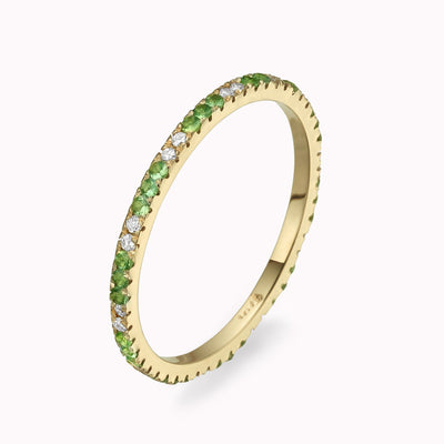 Diamond & Emerald Eternity Ring Ring 14K Solid Gold 4 14k Yellow Gold