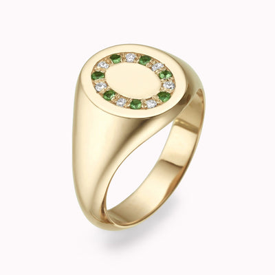 Diamond & Emerald Signet Ring Ring 14K Solid Gold 4 14k Yellow Gold