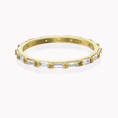 Diamond Eternity Baguette Ring Ring 14K Solid Gold 4 14k Yellow Gold