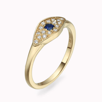 Diamond Evil Eye Ring Ring 14K Solid Gold 4 14k Yellow Gold