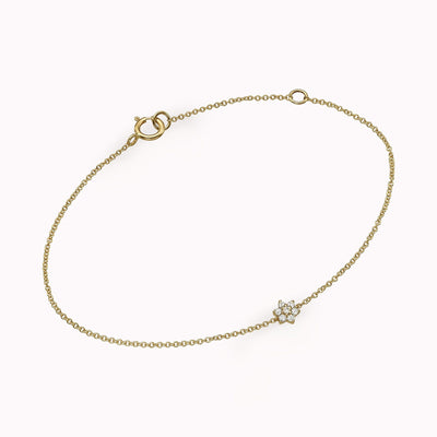 Diamond Flower Bracelet Bracelets 14K Solid Gold 14k Yellow Gold Adjustable 6-7″ (15cm-18cm)