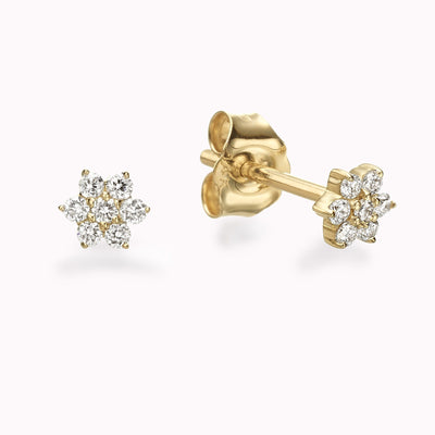 Diamond Flower Earrings Earrings 14K Solid Gold 14k Yellow Gold