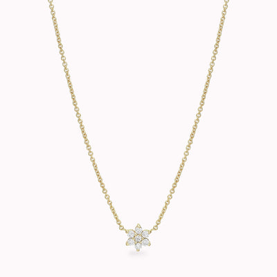 "Diamond Flower Necklace Necklace 14K Solid Gold 14k Yellow Gold Adjustable 16-17"" (40cm-43cm)"
