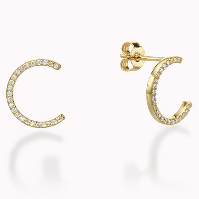 Diamond Half Circle Earrings Earrings 14K Solid Gold 14k Yellow Gold