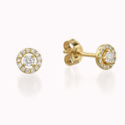 Diamond Halo Earrings Earrings 14K Solid Gold 14k Yellow Gold