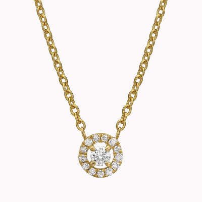 "Diamond Halo Necklace Necklace 14K Solid Gold 14k Yellow Gold Adjustable 16-17"" (40cm-43cm)"
