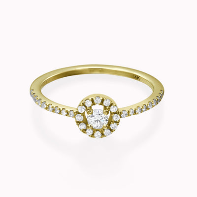 Diamond Halo Solitaire Ring Ring 14K Solid Gold 4 14k Yellow Gold