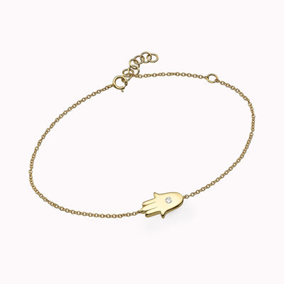 Diamond Hamsa Bracelet Bracelets 14K Solid Gold 14k Yellow Gold Adjustable 6″-7″ (15-18cm)