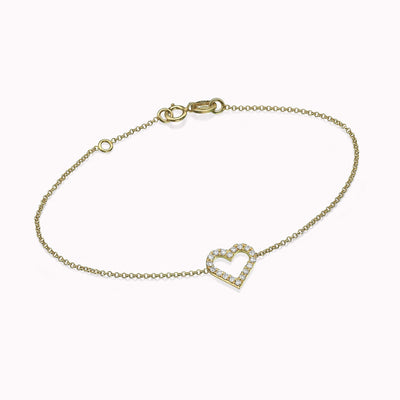 "Diamond Heart Bracelet Bracelets 14K Solid Gold 14k Yellow Gold Adjustable 6-7"" (15cm-18cm)"