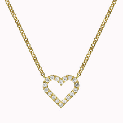 "Diamond Heart Necklace Necklace 14K Solid Gold 14k Yellow Gold Adjustable 16-17"" (40cm-43cm)"