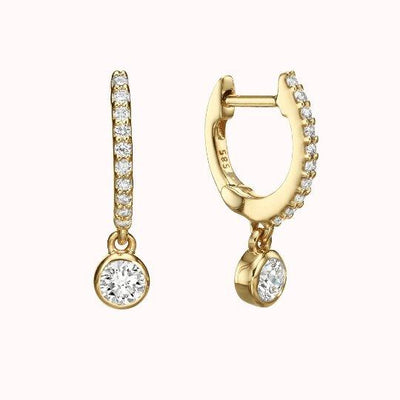 Diamond Hoop with Dangling Bezel Earrings 14K Solid Gold