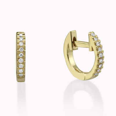 Diamond Hoops Earrings Earrings 14K Solid Gold 14k Yellow Gold