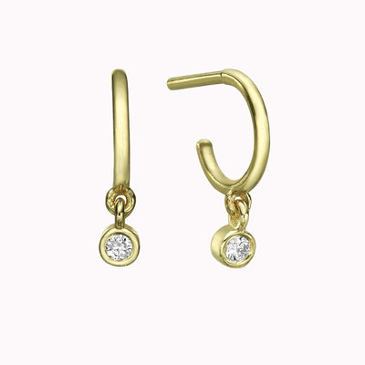 Diamond Huggies Earrings Earrings 14K Solid Gold 14k Yellow Gold